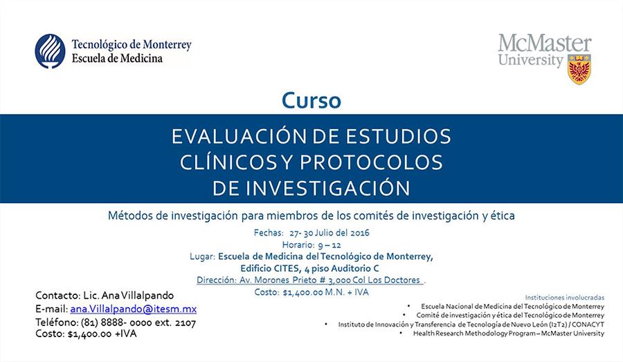 Curso: Evaluación de Estudios Clínicos y Protocolos de Investigación.