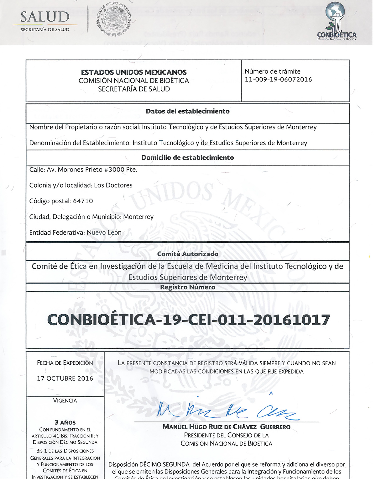 Registro ante CONBIOETICA del Comité de Ética en Investigación del ITESM.
